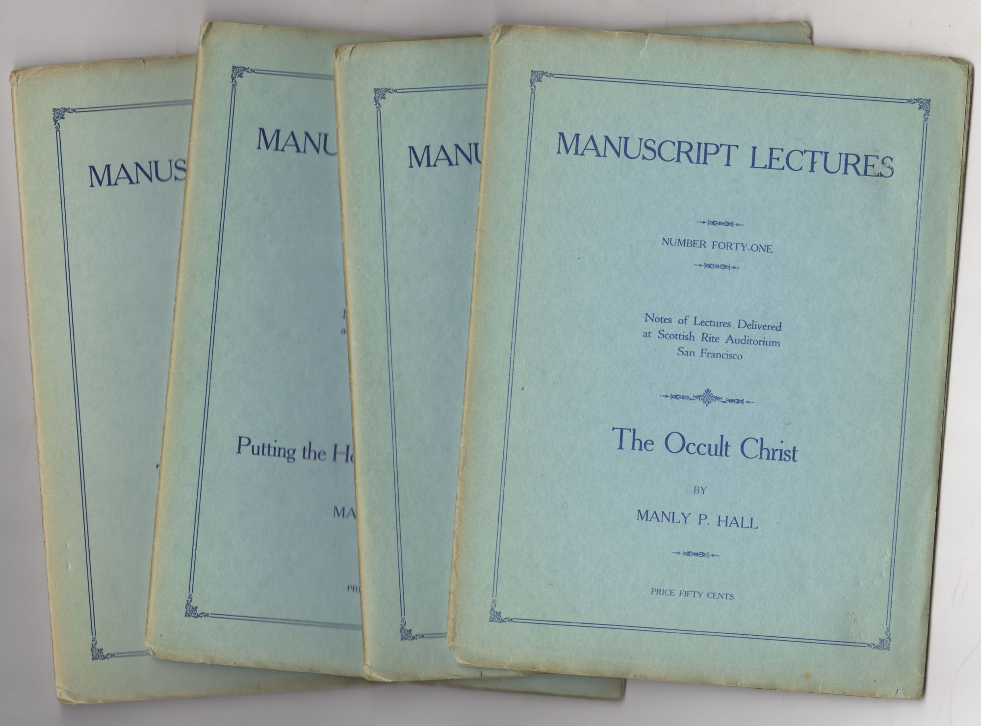 Nine Manuscript Lectures Later Titled: Manuscript Series Plus Two Mimeos of Later Lectures