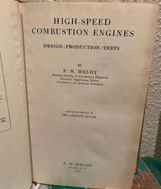 High Speed Combustion Engines: Design: Production: Tests